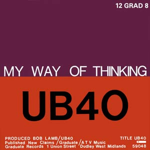 UB40 - My Way Of Thinking / I Think It's Going to Rain Today - Single Cover