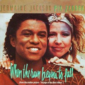 Jermaine Jackson & Pia Zadora When the Rain Begins to Fall Single Cover